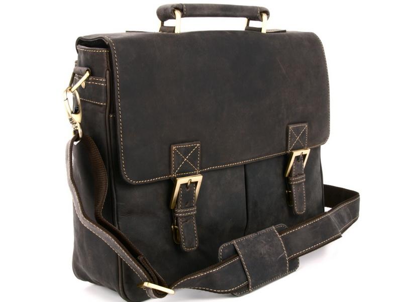 Мужской мягкий портфель из промасленной кожи 18716 Berlin Oil Brown
