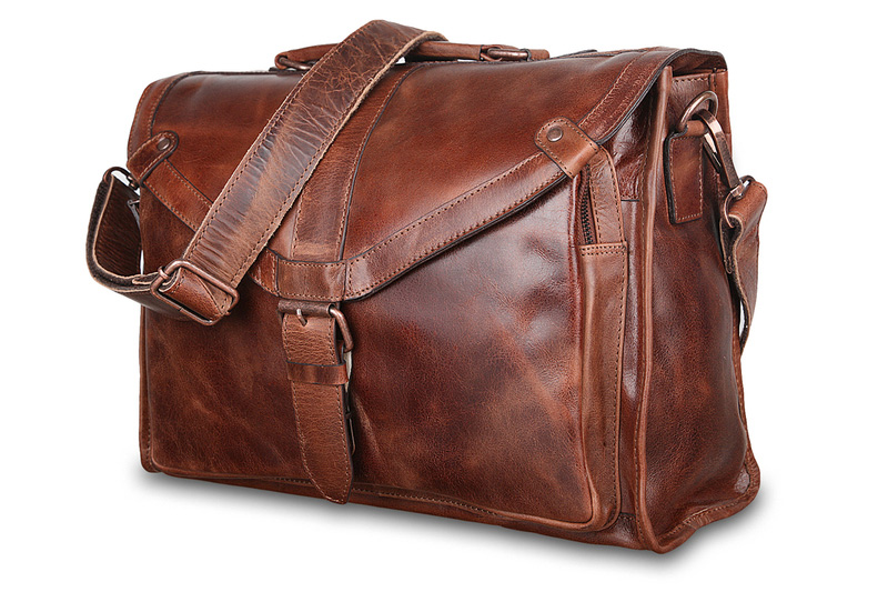 Портфель из вощёной кожи Tycho Tan от Ashwood Leather